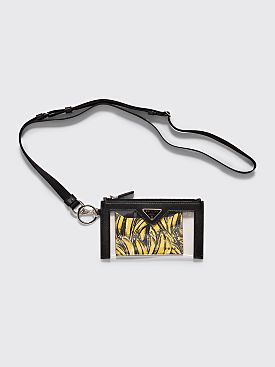 Prada Plexi Pouch Banana Print Card Holder Black
