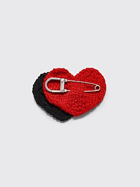 Prada Safety Pin Knitted Heart Black / Red