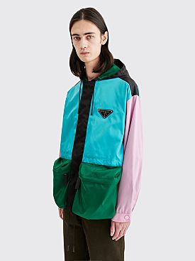 Prada Gabardine Nylon Color Block Jacket Turquoise / Pink