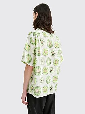 Prada Poplin Pois Tie Dye Shirt White / Green