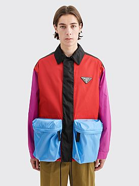 Prada Gabardine Nylon Color Block Jacket Red / Azalea