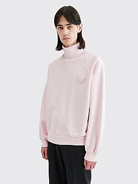 Prada Oversized Cotton Fleece Turtleneck Sweatshirt Pink