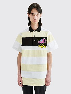Prada Striped Polo Shirt Logo Vaniglia White