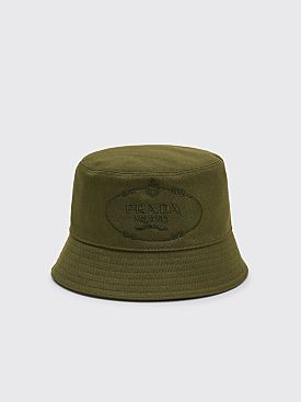 Prada Drill Cotton Canvas Logo Bucket Hat Green