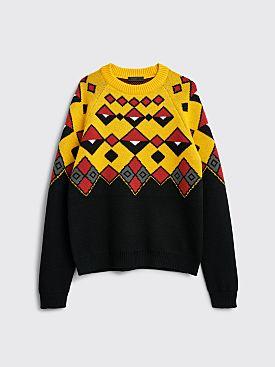 Prada Wool Crew Neck Sweater Black / Yellow