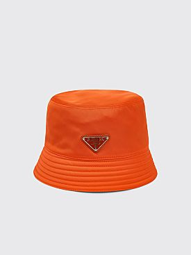 Prada Nylon Bucket Hat Triangle Logo Orange