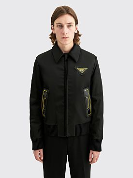 Prada Gabardine Re-Nylon Bomber Jacket Black