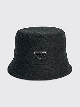 Prada Loden Wool Bucket Hat Triangle Logo Anthracite Grey