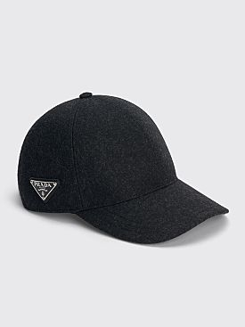Prada Loden Wool Baseball Cap Anthracite Grey