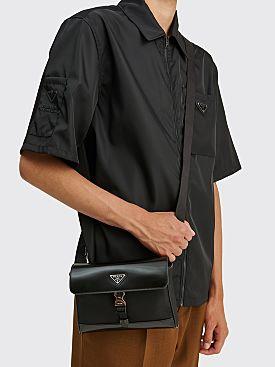 Prada Leather Re-Nylon Shoulder Bag Black