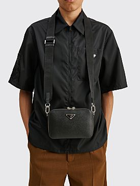 Prada Brique Saffiano Leather Cross-Body Bag Black