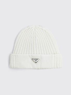 Prada Re-Nylon Gabardine Panel Wool Hat White