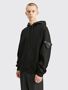 Prada Hooded Pouch Sweatshirt Black