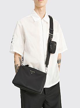 Prada Re-Nylon & Saffiano Leather Sport Shoulder Bag Black