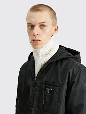 Prada Re-Nylon Gabardine Wool Tube Scarf White