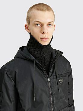 Prada Re-Nylon Gabardine Wool Tube Scarf Black