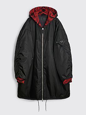 Prada Oversized Re-Nylon Lined Parka Jacket Black