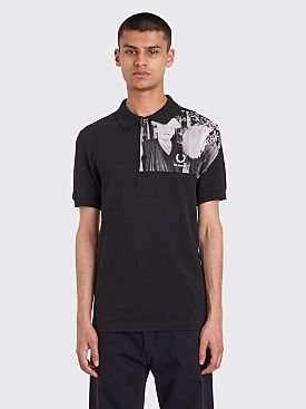 Raf Simons x Fred Perry Shoulder Print Polo T-shirt Black