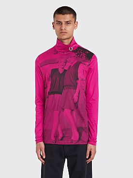 Raf Simons x Fred Perry Long Sleeve Print Rollneck T-shirt Pop Pink