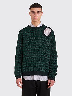 Raf Simons Knitted Jacquard Sweater Metallic Dark Green