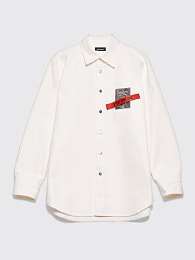 Raf Simons Denim Patch Logo Shirt White