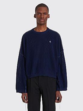 Raf Simons Cropped Knit Sweater Navy