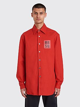Raf Simons Carry Over Slim Fit Denim Shirt Red