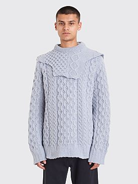 Raf Simons Aran Knit Patched On Collar Sweater Blue
