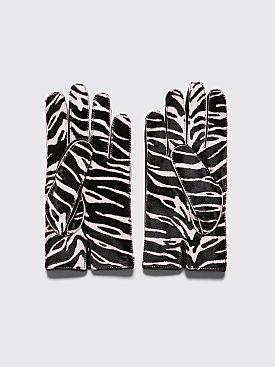 Raf Simons Animal Leather Gloves Zebra