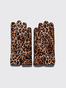 Raf Simons Animal Leather Gloves Leopard