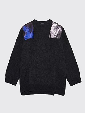 Raf Simons Blue Velvet Oversized Sweater Grey