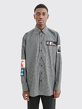Raf Simons Oversized Patch Shirt Checkered Black