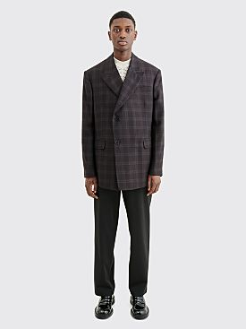 Raf Simons Double Breasted Blazer Checkered Dark Brown