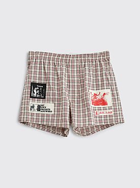 Raf Simons Patch Boxer Shorts Checkered Beige