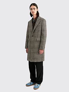 Raf Simons Slim Fit Single Breasted Coat Houndstooth Black / Ecru
