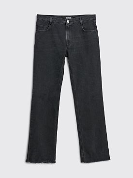 Raf Simons Slightly Flared Denim Pants With Picture Patch Black