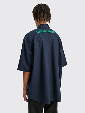 Raf Simons Short Sleeve Shirt Teenage Dreams Navy