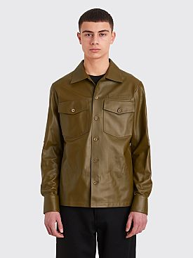 Sies Marjan Oliver Leather Pocket Shirt Olive Green
