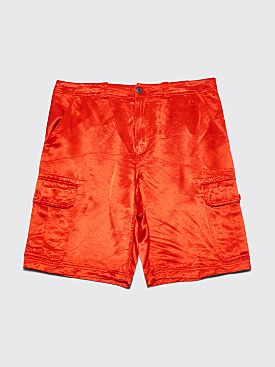 Sies Marjan Elias Washed Satin Cargo Shorts Scarlet Red