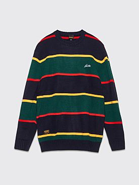 Butter Goods Knitted Sweater Stripe Navy / Forest