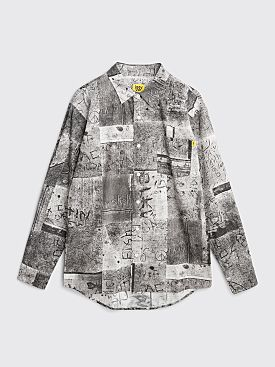 Iggy NYC Wet Cement Button Down Shirt Grey