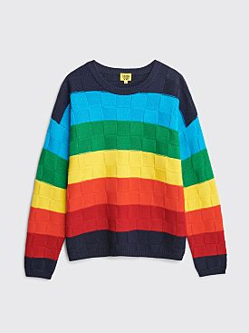 Iggy NYC Rainbow Checkerboard Knit Sweater Black