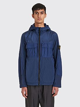 Stone Island Zip Nylon Metal Hooded Jacket Navy