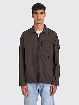 Stone Island Old Effect Tela Zip GD Overshirt Dark Brown