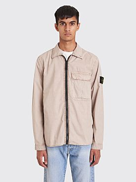 Stone Island Old Effect Tela Zip GD Overshirt Beige
