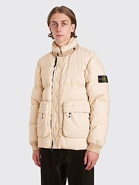 Stone Island Lino Resinato Linen Down Jacket Natural