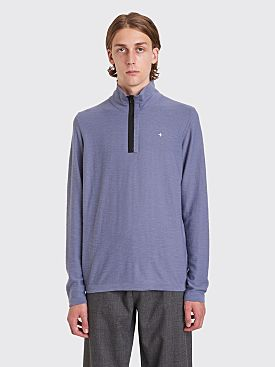 Stone Island Slub Knit Half Zip Sweater Blue