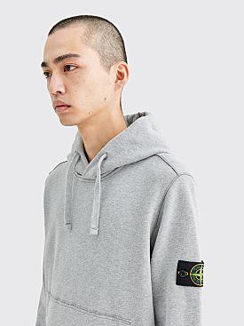Stone Island Hooded Fleece Back Sweatshirt Grey Melange
