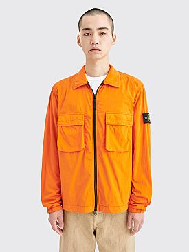 Stone Island Zip Overshirt Double Pockets Orange