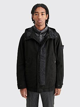 Stone Island Ghost Piece Diagonal Wool Jacket With Gilet Black